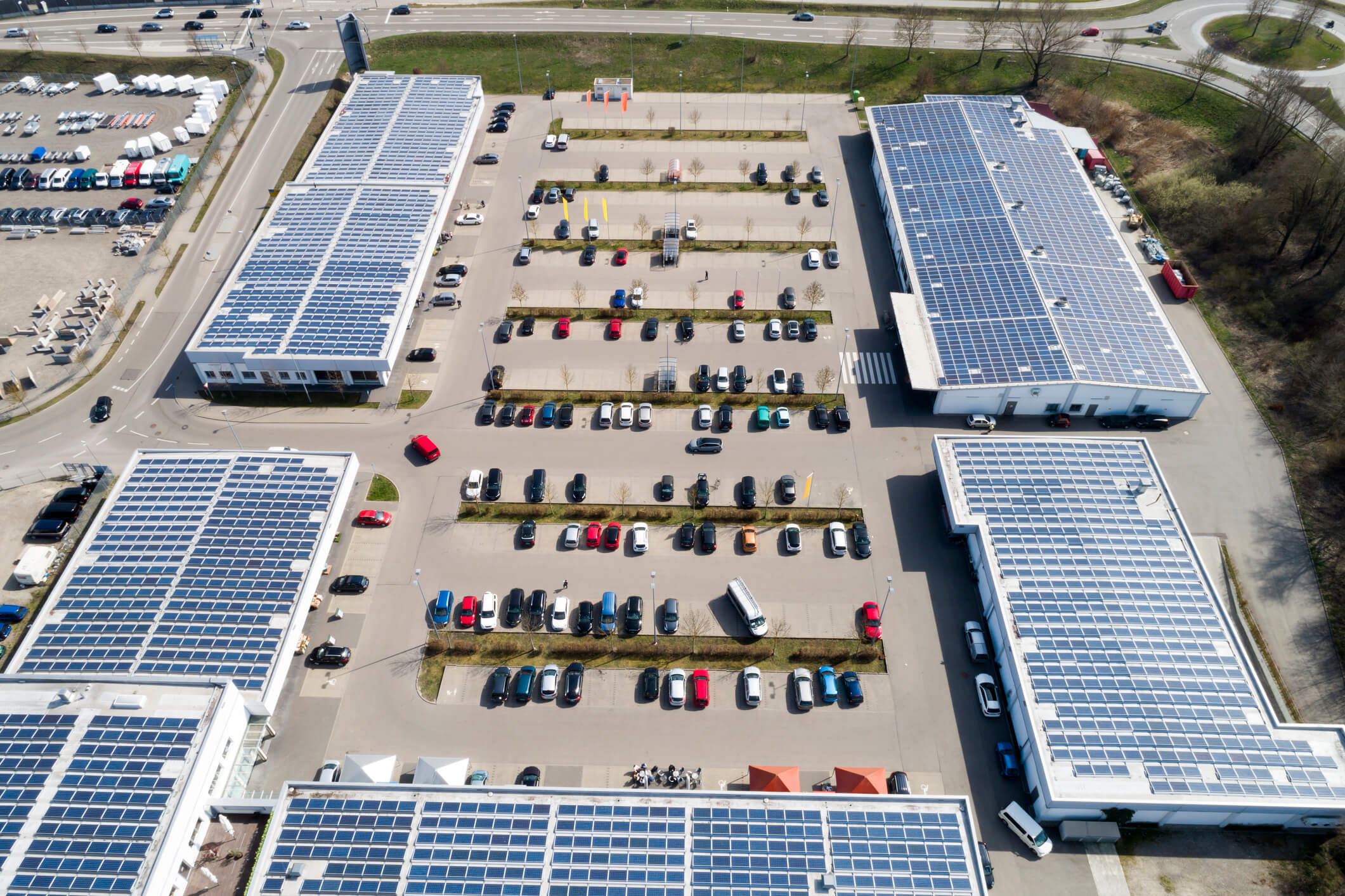shopping mall with solar panels