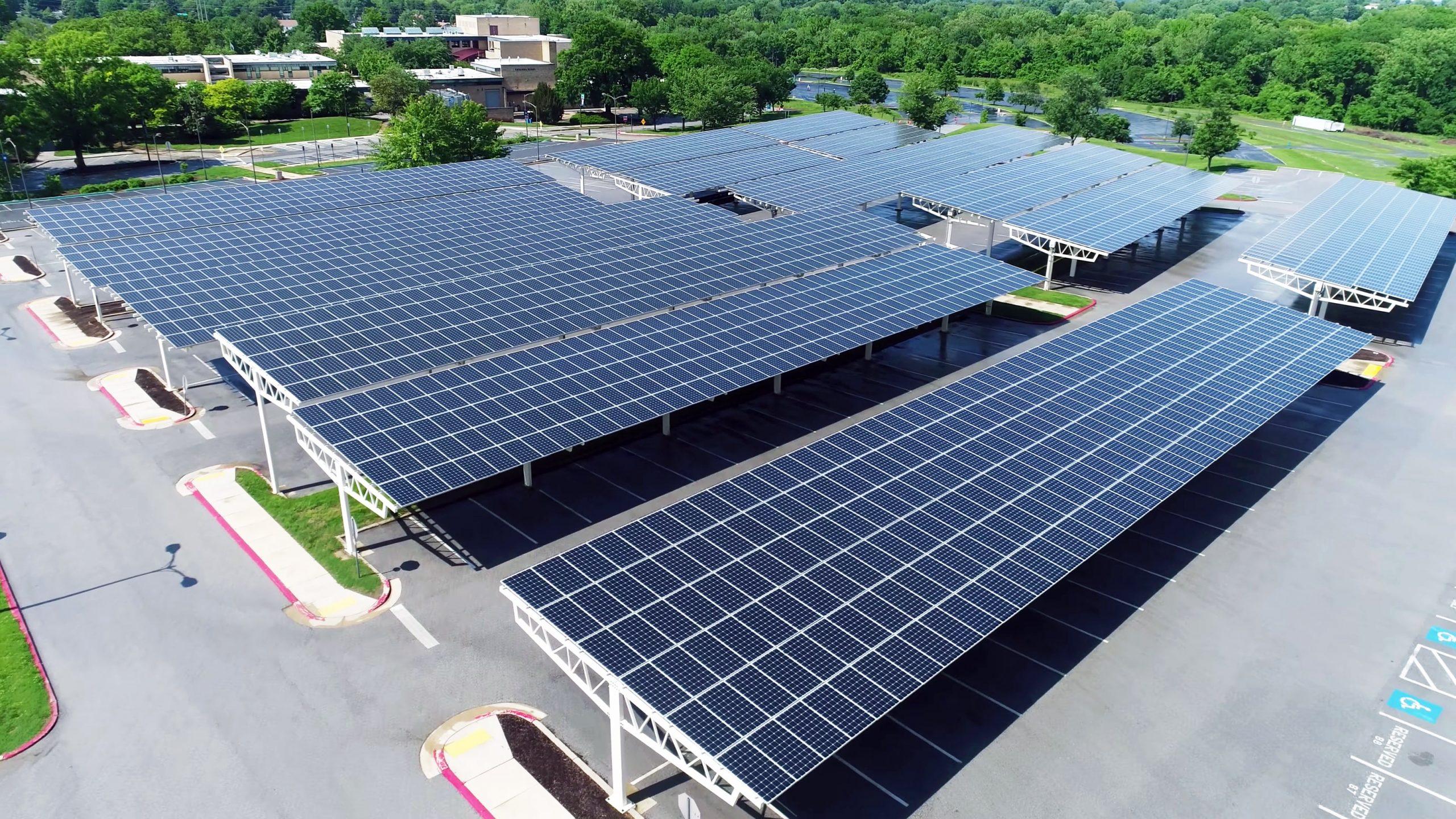 solar panels over a parking lot
