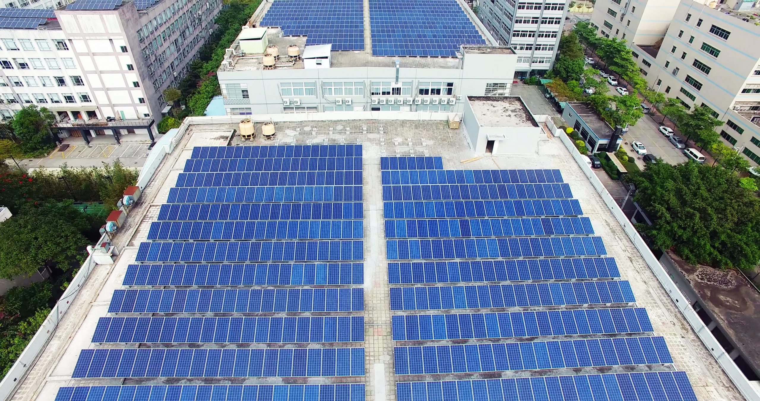 professional building with solar panels
