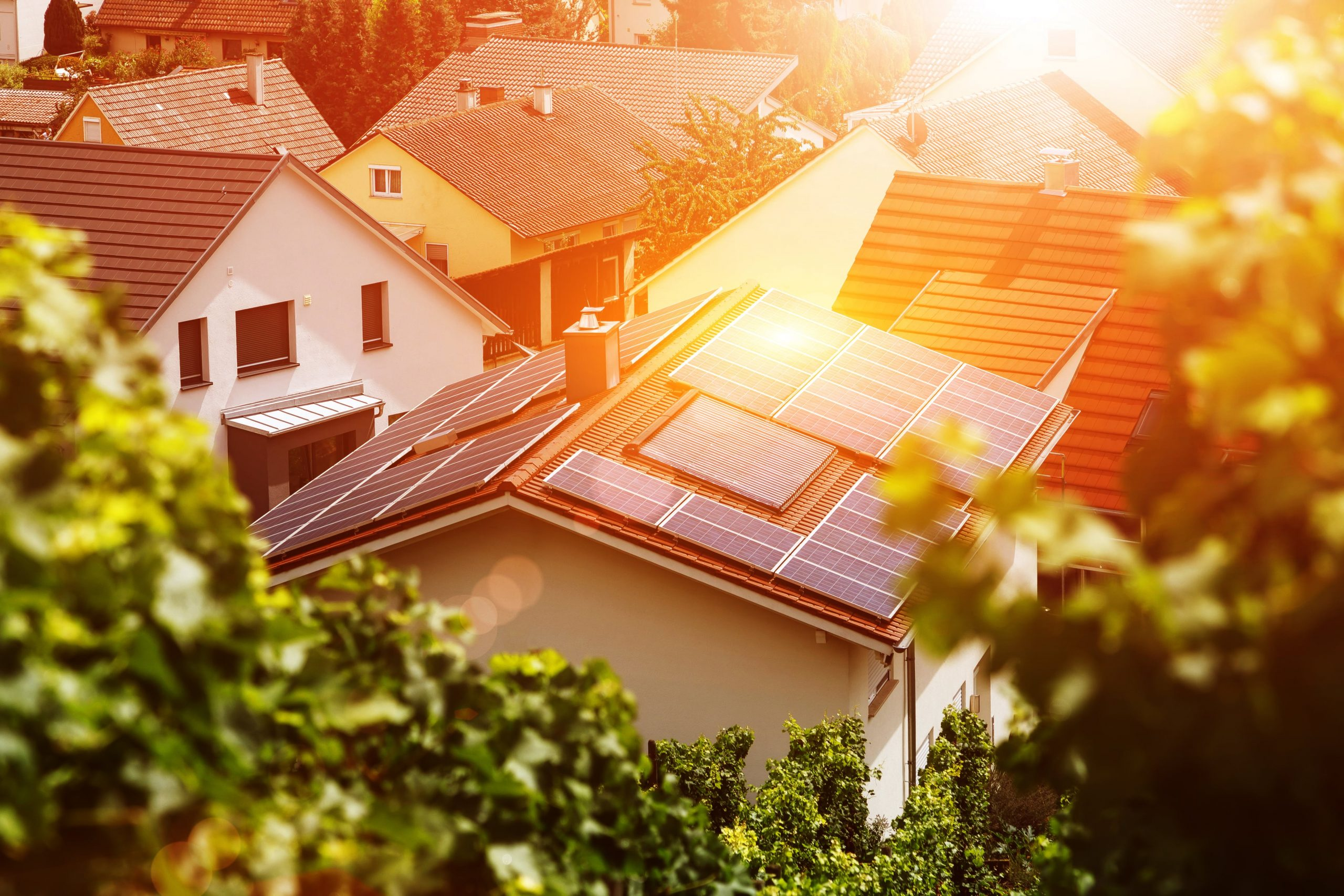solar panels on the roof of a residential home