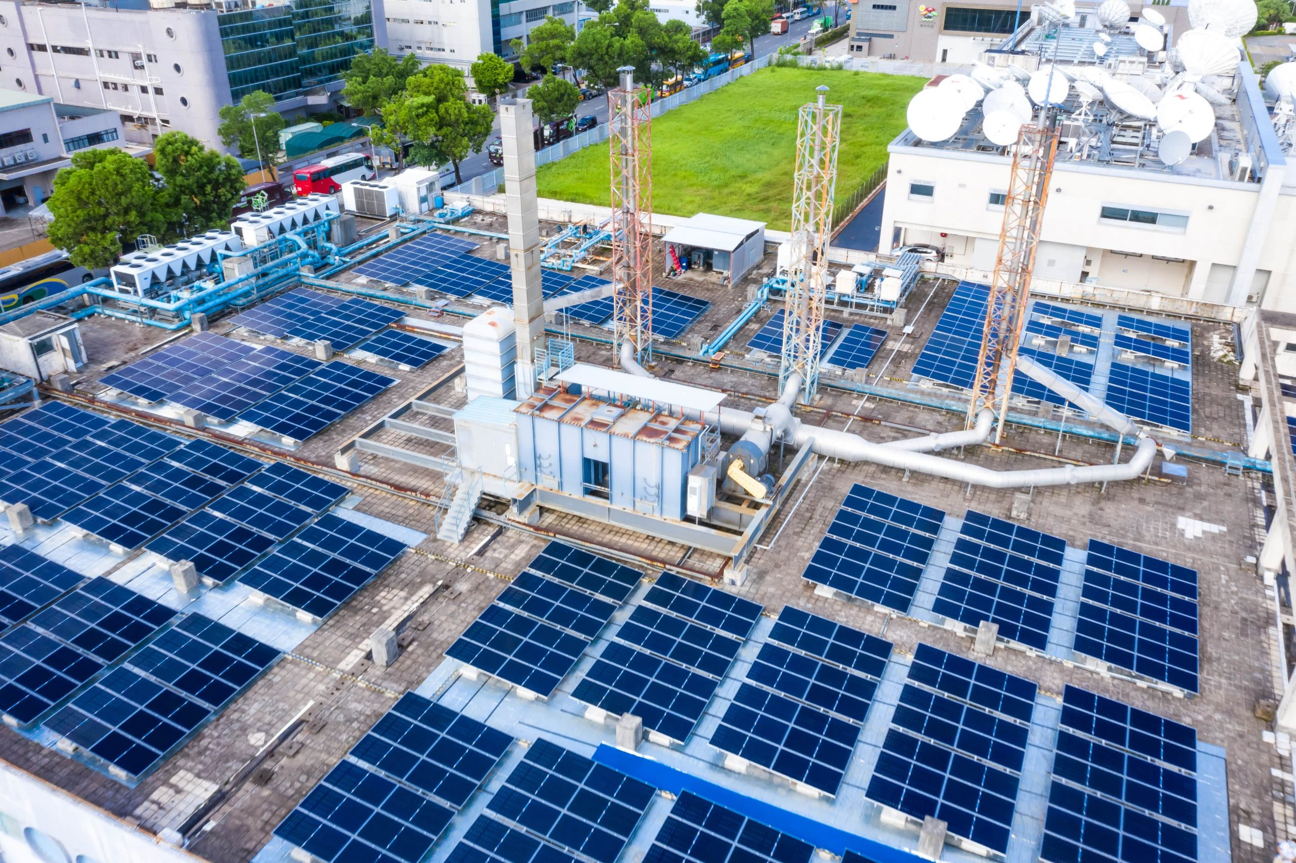 manufacturing plant with solar panels
